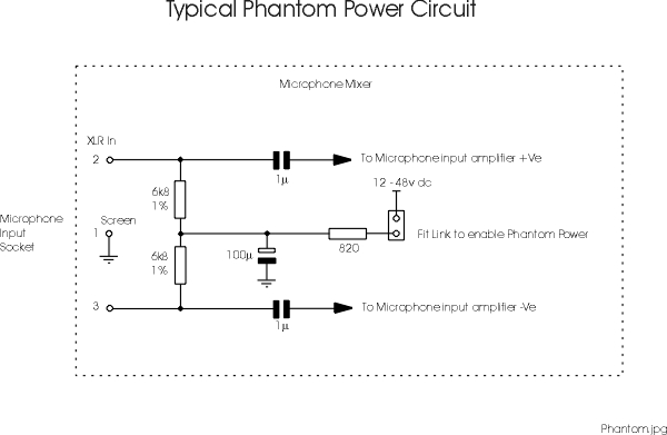 phantom power microphone wiring and circuit diagram circuit diagram to provide phantom power